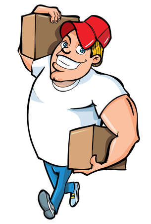 ship with gift: Cartoon of burly delivery man carrying two boxes. Isolated on white