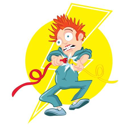 volts: Cartoon electrician getting electrocuted. Lightning bolt design behind Illustration