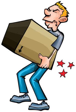 hurting: Cartoon man hurting his back picking up a heavy box Illustration