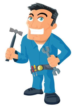 repair man: Manitas de dibujos animados con herramientas. Aislados en blanco Vectores