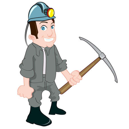 Cartoon miner with a pick. Isolated on white Stock Vector - 9439333