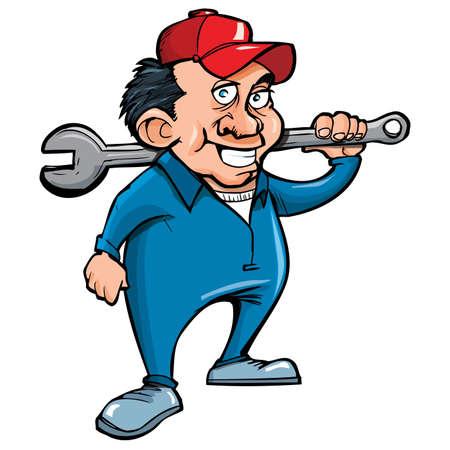 loodgieterswerk: Cartoon klusjesman met gereedschap. Geà ¯ soleerd op wit