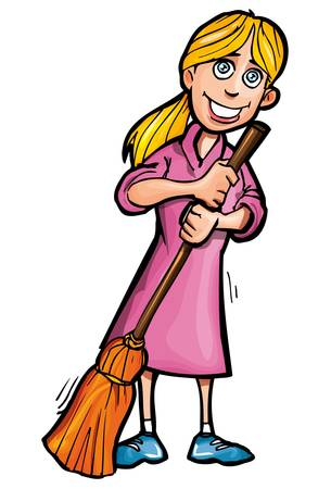 Cartoon cleaner with a broom. Isolated on white