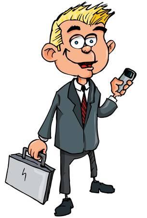 centre d affaires: Vendeur de dessin anim� avec porte-documents et t�l�phone portable. Isol� sur fond blanc