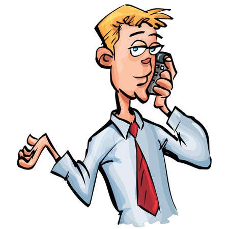 Empresario de dibujos animados en su teléfono móvil. Aislados en blanco Vectores