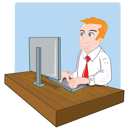 �back ground�: Cartoon office worker at his desk. Simple back ground Illustration