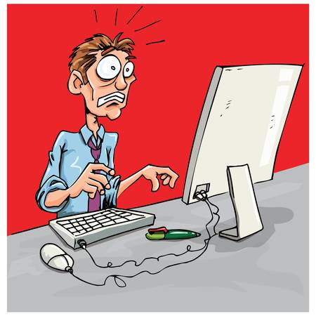 Office worker shocked by pc. Mouse and keybooard on desk Stock Vector - 9439346