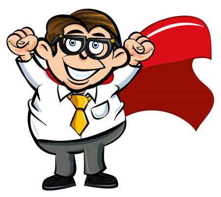 communication metaphor: Cartoon superhero office worker happy with his fists in the air