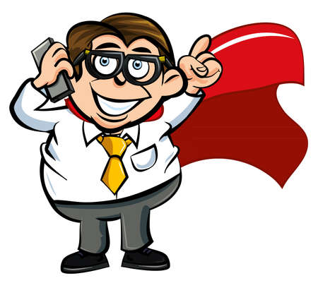 Cartoon superhero office worker with a mobile phone Vector