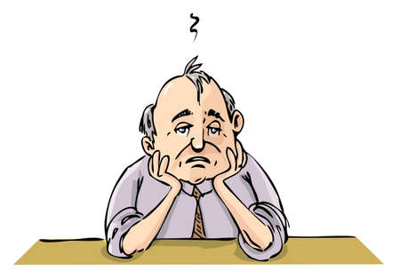 Caricatura de trabajador ubicados deprimido. Aislados en blanco
