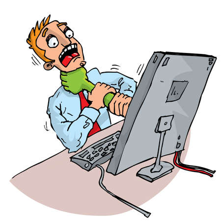 Cartoon office worker attacked by his computer. Isolated on white Stock Vector - 9438214