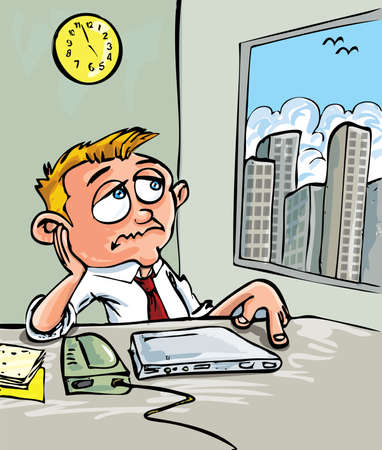 Cartoon of a man waiting for home time. He stares out the window