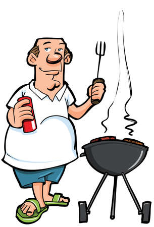 barbecue: Caricature de surpoids homme ayant un BBQ. Isol� sur fond blanc