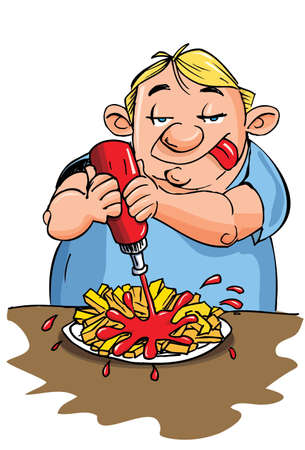 tongue: Cartoon of overweight man putting ketchup on his fries. Isolated