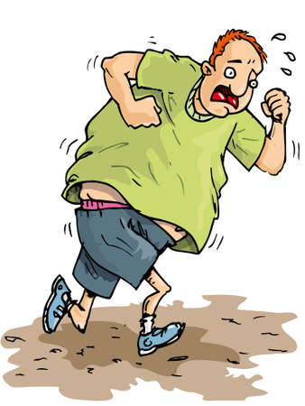 belly: Cartoon of overweight runner trying to lose weight