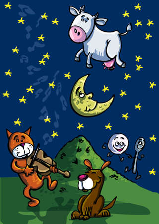 Hey diddle diddle, The Cat and the fiddle, The Cow jumped over the moon Ilustração