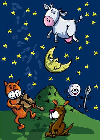 geigen: Hey diddle diddle, The Cat und die Geige, die Kuh sprang �ber den Mond Illustration