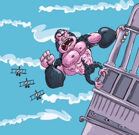 monkey face: Cartoon King Kong hanging on a building. Bi planes attacking him