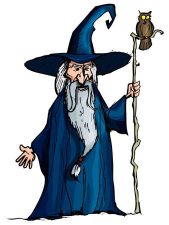 Cartoon Wizard with staff. Isolated on white Vector