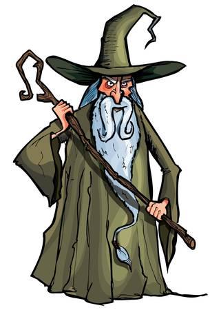 Cartoon Wizard met personeel. Geïsoleerd op wit