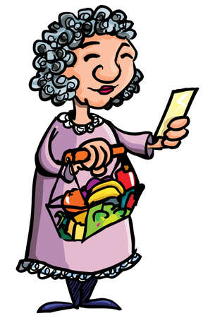 retirement: Cartoon of old lady shopping with her shopping list. Isolated on white