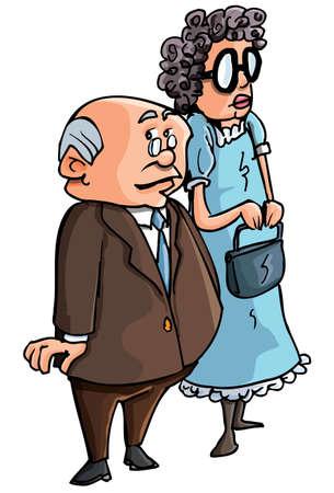 personas ancianas: Caricatura de la pareja de ancianos. Aislados en blanco