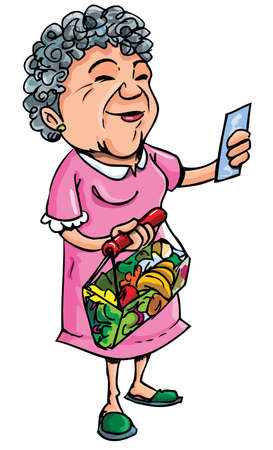 retiring: Cartoon of old lady shopping with her shopping list. Isolated on white