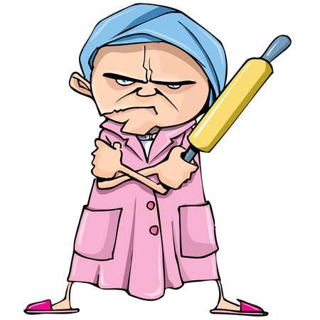Cartoon van gemiddelde oude vrouw met een deegroller. Geïsoleerd op wit