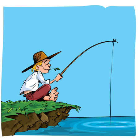 anglers: Cartoon of a boy fishing. He is on a riverbank Illustration
