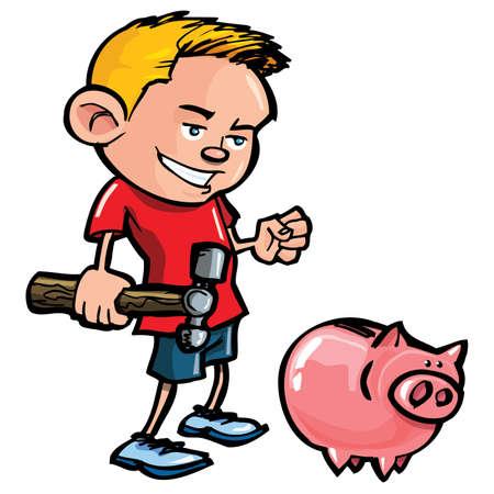Niño de dibujos animados preparándose para romper una hucha con un martillo Foto de archivo - 9504235