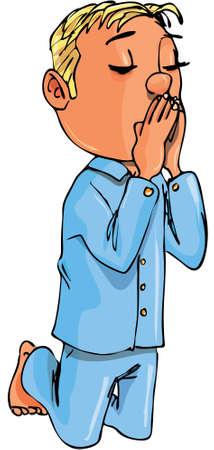 Cartoon boy kneeling in prayer. Isolated on white Vector
