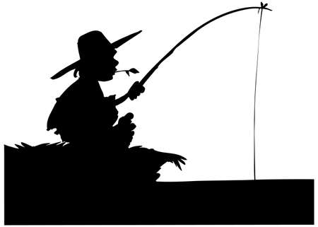 anglers: Silhouette of boy fishing. Isolated on white
