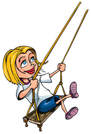 Cartoon of young girl on a swing. Isolated on white Vector
