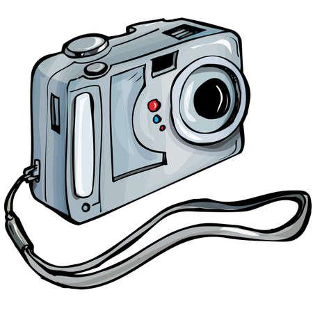 Ilustración de una cámara instantánea. Aislados en blanco