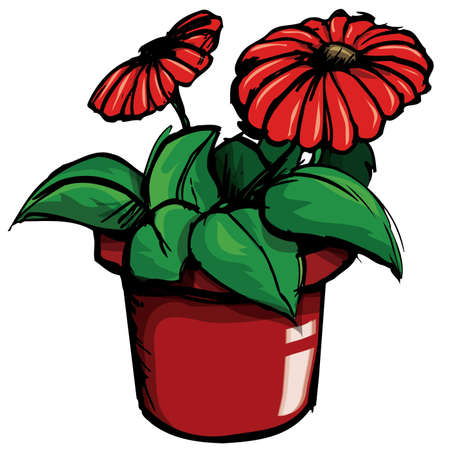 Cartoon of flower pot. Isolted on white Stock Vector - 9529927