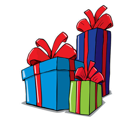 christmas gifts: Cartoon of group of christmas gifts. Isolated on white Illustration