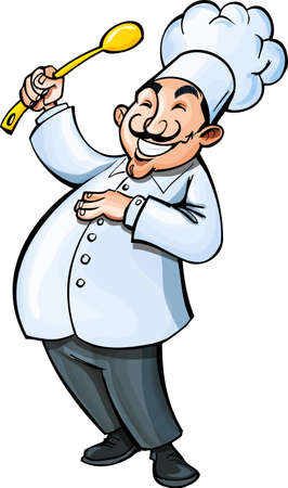 Cartoon chef with a ladle. Isolated on white
