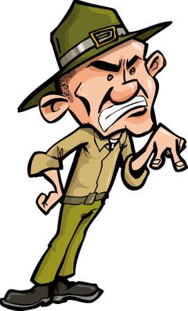 Sargento de taladro cartoon enojado. Aislados en blanco