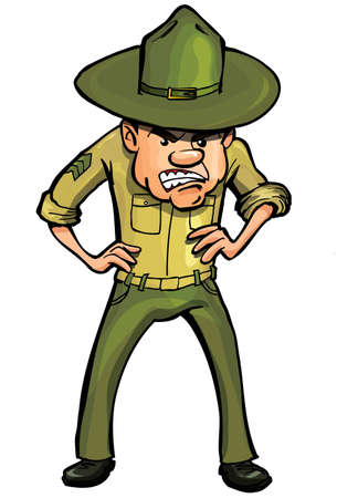 angry cartoon: Angry cartoon drill sergeant. Isolated on white