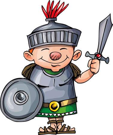 romano: Legionario romano de dibujos animados con la espada y el escudo. Aislados en blanco