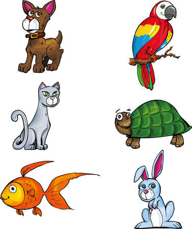 Cartoon set of pet animals. isolated on white Vector