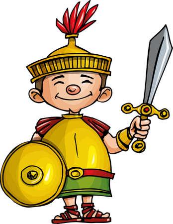 Cartoon Romeinse legionairs met zwaard en schild. Geà ¯ soleerd op wit