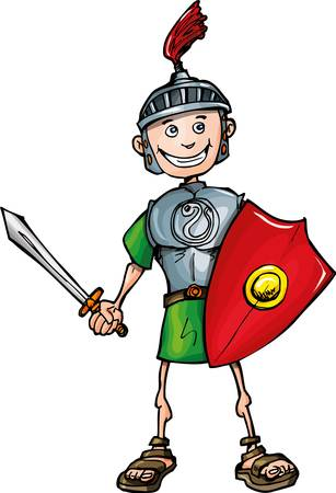 Cartoon Roman legionary with sword and shield. Isolated on white Vector