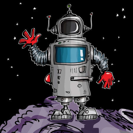 Cartoon robot in space. On a moon with stars behind Stock Vector - 9630598