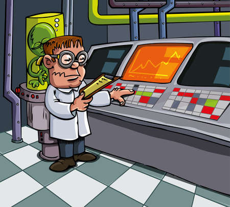 equipamento: Cartoon scientist in his laboratory. Computers and lab equipment behind