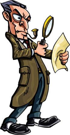 Sherlock Holmes cartoon met pijp. Geà ¯ soleerd op wit Vector Illustratie