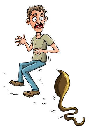 afraid man: Cartoon man threatened by cobra. Isolated on white