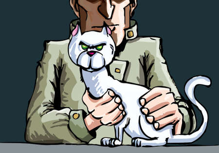 Mr Blofeld and his cat. Dark background Stock Vector - 9630611