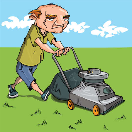 chore: Cartoon man mowing his lawn. Grass and blue sky behind