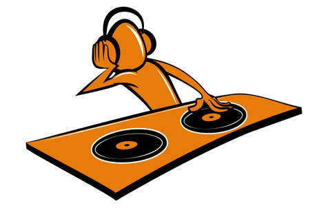 Stylised cartoon DJ design. Isoleated on white Vector